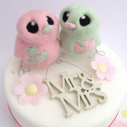 Bird Wedding Cake Topper Mint Green and Rose Pink Love Birds Needlefelted Birds