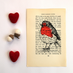 Robin Print on Vintage Book Page Why Birds Sing