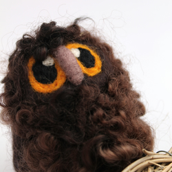 Owl Baby Natural Brown Needle Felted Owl Baby