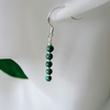 Green Malachite Stack & Sterling Silver Slim Drop Earrings