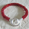 Hand Made Glowing Ruby Red Beaded & Braided Woven Kumihimo Bracelet