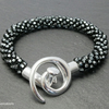 Silvery Black Diamond Beaded & Braided Kumihimo Bracelet - NEW LOWER PRICE