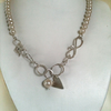 Sterling Silver Handmade Chain and Pearl Necklace - Heart Necklace