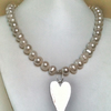 Large Pearl Necklace with Silver Heart and Bracelet