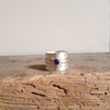 Amethyst Ring - Wide Silver Band - Mixed Metal Ring