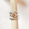 Stacking Rings - Citrine Ring with Wide Silver Bands