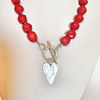Red Necklace - Red Coral Necklace with Silver Toggle Clasp