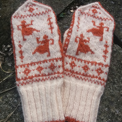 Hand knitted wool mittens, Nordic Dancing Grannies