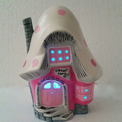 Hand made bright and sparkly ceramic fairy house - Cotton Candy