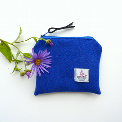 Blue HARRIS TWEED change or coin purse, zipped pouch