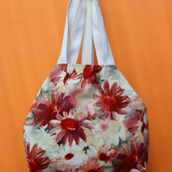 Large slouchy handbag in floral  velvet needlecord