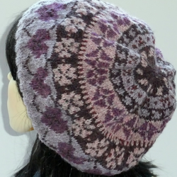 Handknitted Fairisle Wool Beret with hearts in pink and mauve