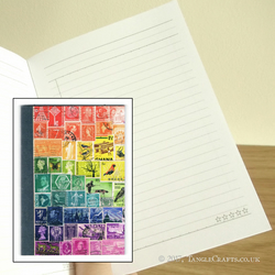 Rainbow Print Pocket Notebook - Postage Stamp Art To Do List Book