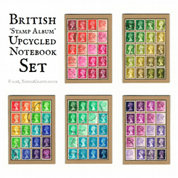 Set of 4 or 5 Postage Stamp Notebooks - Recycled British Stamps, A6 Journals