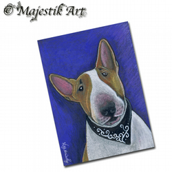 ACEO Print Bull Terrier Dog Animal ADORABLE
