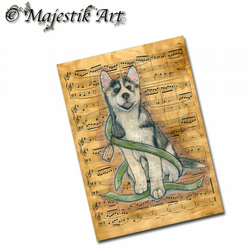 ACEO Print Husky NOTE Pet Dog Puppy Animal