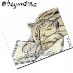 ACEO Print Tabby Cat KNOWLEDGE Animal