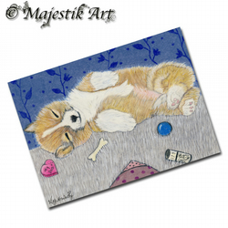 ACEO Print Corgi TOO TIRED Pet Dog Puppy Animal