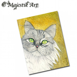 ACEO Print Grey Maine Coon Cat Feline Animal ONLY ME