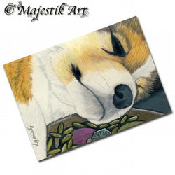 ACEO Print Welsh Corgi Puppy Animal Dog POT OF GOLD