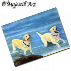 ACEO Print Golden Retriever HOLIDAY Dog Animal