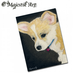 ACEO Print Welsh Corgi Dog Animal Pet Heart PUPPY LOVE