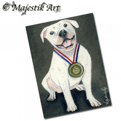ACEO Print Bull Dog WINNER Pet Animal