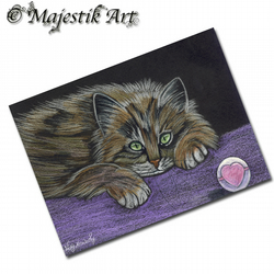 ACEO Print Tabby Cat FINISHED PLAYING Animal