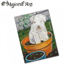 ACEO Print Animal Garden Puppy Dog MUCKY PUP