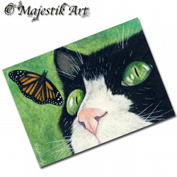 ACEO Print Tuxedo Cat Butterfly Animal Feline LOOK