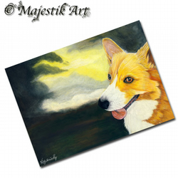 ACEO Print Welsh Corgi Animal Dog Puppy STORM