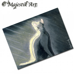 ACEO Print Black Cat Light Cat Feline Animal DAY LIGHT