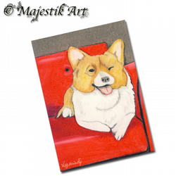 ACEO Print Welsh Corgi Dog Sofa Animal Canine GET DOWN