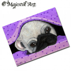 ACEO Print Pug Dog Puppy Animal Pet BEDTIME