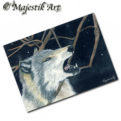 ACEO Print Wolf Wildlife Animal BAD DAY