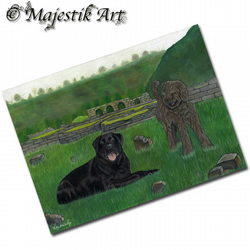 ACEO Print Dog BREEDS APART Pet Animal Rottweiler Labradoodle