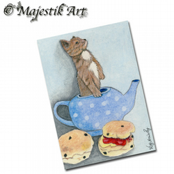 ACEO Print Chihuahua Dog Animal AFTERNOON TEA