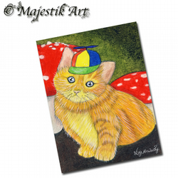 ACEO Print Ginger Kitten TWEEDLE DUM Wonderland Animal