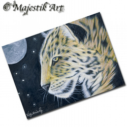 ACEO Print Leopard MOONLIGHT Animal Big Cat Wildlife
