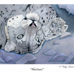 Snow Leopard Fine art Print A3 Archival NURTURE Mother Cub