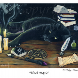 "Black Cat Fine art Print 8"" x 10"" Archival BLACK MAGIC Wiccan"