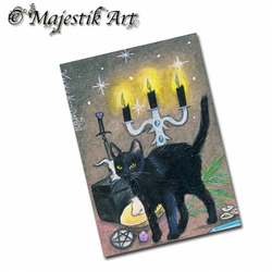 ACEO Print Black Cat Wiccan Pagan Witch Feline Kitty Pet Animal  MAGIC