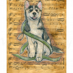 Husky Fine art Print A4 Archival NOTE Dog