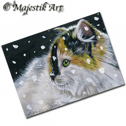 ACEO Print Maine Coon Cat Feline Animal Snow NOT THIS AGAIN