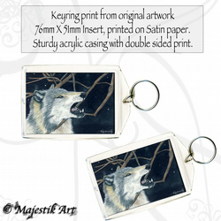 Wolf Wildlife Animal Keyring BAD DAY