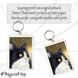 Tuxedo Cat Keyring INTRIGUE Pet Animal Feline