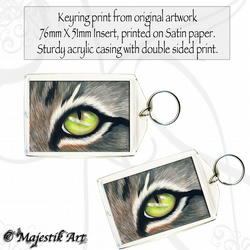Tabby Cat Eye Keyring HERE'S LOOKING AT YOU Animal Feline Pet