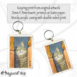 Tabby Cat Keyring HIDE AND SEEK Animal Feline Pet