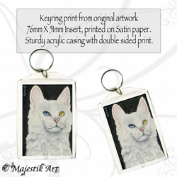 White Cat Keyring RAINBOW Feline Animal