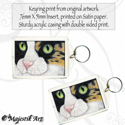 Ginger Black Cat Keyring UNSURE Pet Animal